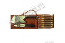 Шампурница рыжая (шампура с деревянной рукоятью и литьем, нож простой)