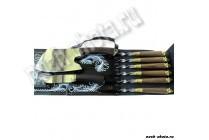 Шампурница черная (шампура с деревянной рукоятью и литьем, нож простой)