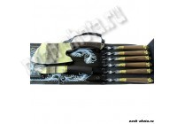Шампурница черная (шампура с деревянной рукоятью и литьем, нож с литьем)