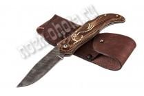 Охотничий складной нож Флинт | дамасская сталь, рукоять: венге