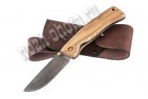 Охотничий складной нож Грибник | дамасская сталь, рукоять: орех