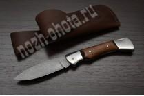 Охотничий складной нож Кабан | дамасская сталь, рукоять: сапеле