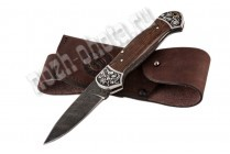 Охотничий складной нож Корсар | дамасская сталь, рукоять: венге