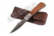 Охотничий складной нож Пират | дамасская сталь, рукоять: венге
