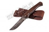Охотничий складной нож Таёжный | дамасская сталь, рукоять: венге