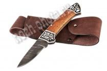 Охотничий складной нож Юнкер | дамасская сталь, рукоять: венге