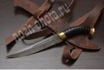 Казачий нож Пластунский | дамасская таль, рукоять: граб