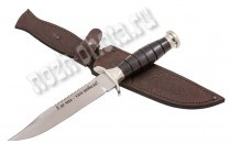 "Нож ""Морпех"" | кованая сталь 95Х18, рукоять: чёрный граб, мельхиор"