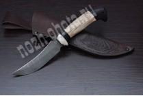 """Охотничий нож """"Щука""""   дамасская сталь, рукоять: ясень, граб"""