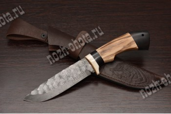 """Охотничий нож """"Шакал""""   сталь кованая ХВ5 """"каменный век"""", рукоять: граб, ясень"""