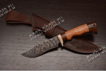 """Охотничий нож """"Ястреб малый""""   сталь кованая ХВ5 """"каменный век"""", рукоять: сапеле, венге"""