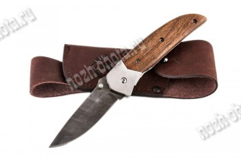 Охотничий складной нож Акула   дамасская сталь, рукоять: сапеле