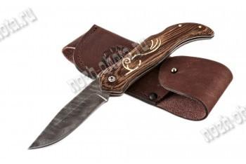 Охотничий складной нож Флинт   дамасская сталь, рукоять: венге