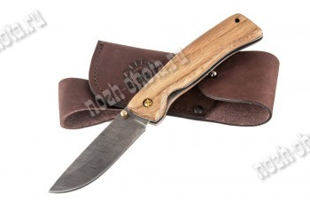 Охотничий складной нож Грибник   дамасская сталь, рукоять: орех