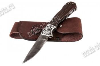Охотничий складной нож Капрал   дамасская сталь, рукоять: венге