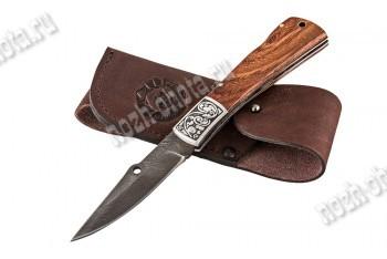 Охотничий складной нож Пират   дамасская сталь, рукоять: венге