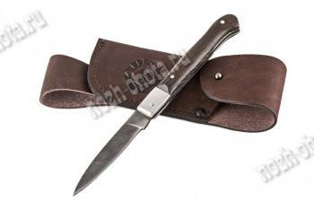Охотничий складной нож Пуля | дамасская сталь, рукоять: венге