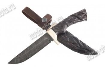 """Авторский охотничий нож """"Тетерев""""   дамасская сталь, рукоять: резная, венге"""