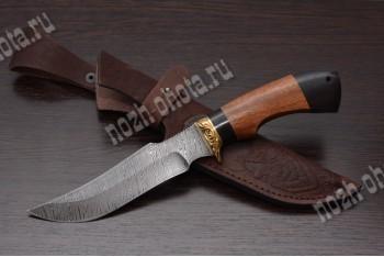 """Охотничий нож """"Ворон""""   дамасская сталь, рукоять: граб, сапели"""